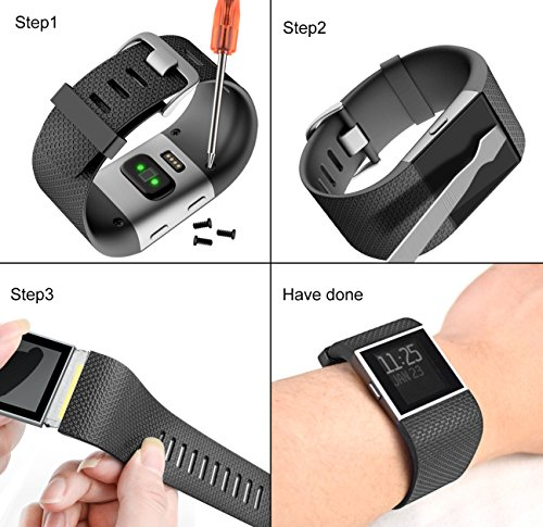 CreateGreat For Fitbit Surge Bands, Replacement Band Strap for Fitbit Surge Watch Fitness Tracker Original Wrist Band Accessories Small&Large