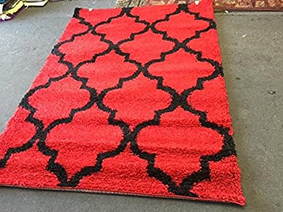 Black Red 3D Shaggy Area Rug 5 x 7 Soft Medium Pile Hand Woven Tufted Curly Yarns Thick Pile 1016