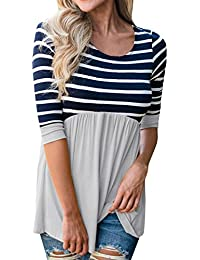 Womens Maternity Babydoll Peplum Striped Ruffle Tops...