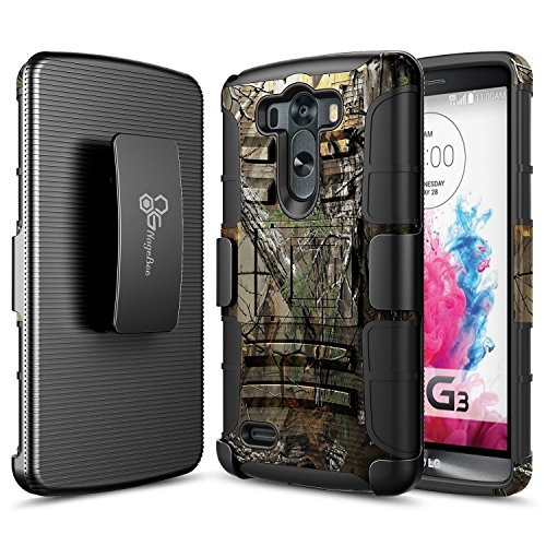 LG G3 Case, NageBee [Heavy Duty] Armor Shock Proof Dual Layer [Swivel Belt Clip] Holster with [Kickstand] Combo Rugged Case for LG G3 - Camouflage