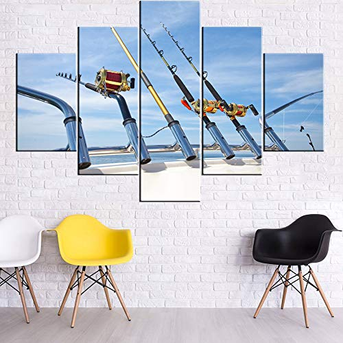 Wall Decorations for Living Room Big Game Fishing Reels Paintings Seascape Picture Multi Panel Prints Wall Art on Canvas Contemporary Artwork Framed Ready to Hang Posters and Prints(60''Wx40''H)