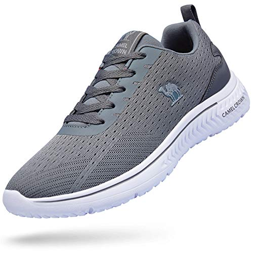 (CAMEL CROWN Running Shoes Men Tennis Shoes Fashion Sneaker Lightweight Athletic Casual Sport Workout Walking Shoes Grey 9)