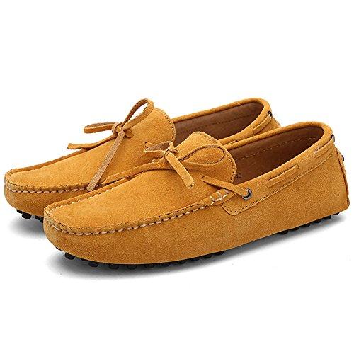 Damen Klassische Slip-on Wildleder Loafers Fahren Halbschuhe Mokassin Lederschuhe Bootsschuhe Braun