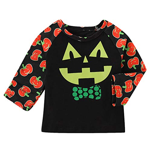 Dabixx T-Shirt, Toddler Baby Happy Halloween Costume Long Sleeve Pumpkin T-Shirt Tops O-Neck 120]()