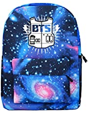 PINGJING Kpop BTS Starry Cartoon Backpack Bangtan Boys Support Satchel Schoolbag Casual Daypack Laptop Bags