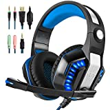 Hotyet Newest PS4 Xbox One PC 3.5mm Gaming Headset with Mic Sound Clarity Noise isolating LED lights Soft&Comfy ear-pads Y-Splitter for Laptops Tablet Smartphones (Beexcellent) (Blue)