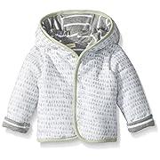 Burt's Bees Baby Baby Organic Snap Front Reversible Jacket, Heather Grey Stripe/Dew Drop, 6-9 Months