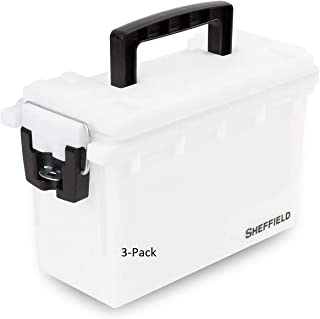 product image for Sheffield 12634 Storage Box   Locking Ammo Case, Crafts Box, or Kids Storage   Water Resistant & Tamper-Proof w/ 3 Locking Options   Interlocking Stackable Design, Great  White (3-Pack)