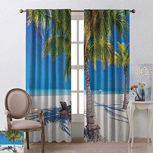- youpinnong Beach, Kitchen Curtains and Valances Set, Tropical Island with Palm Trees Sunbeds Paradise Relaxation Summer Picture, Curtains for Girls Bedroom, W108 x L108 Inch, Green Blue White