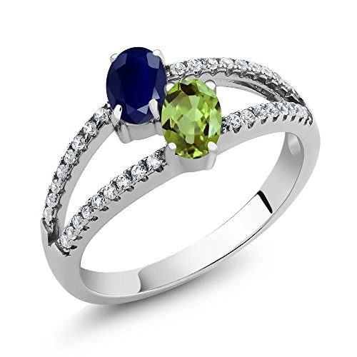 Sapphire Green Natural (1.46 Ct Oval Blue Sapphire Green Peridot Two Stone 925 Sterling Silver Ring (Size 8))