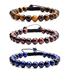 Specifications:BraceletLength: Adjustable from 6.5 inches - 10 inches Beads Size: Tassels beads(6 mm)Bracelet beads(8mm)Material:Tiger Eye/Lava Rock Stone /Black AgateTiger eye:One who wears the tiger eye has the Tiger Eye is a powerful stone...
