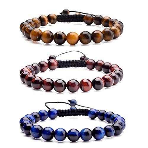 Top Plaza Lava Rock Agate Onyx Tiger Eye Stone Gemstone Bead Healing Power Bracelet W/Adjustable Braided Macrame Tassels(Pack of 3 Tiger Eye) ()