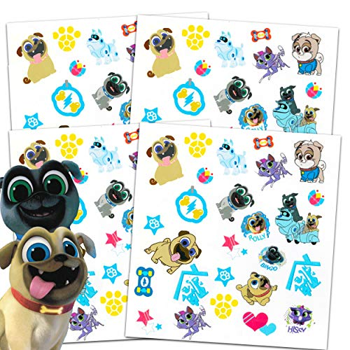Disney Puppy Dog Pals Tattoos Party Favors Pack ~ Bundle Includes Over 100 Puppy Dog Pals Temporary Tattoos (Puppy Dog Pals Party Supplies) (Tattoo Dog)