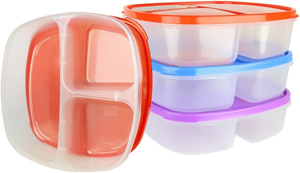 (3 Pack) Large 3 Compartment Microwavable Food Container with Lid / Divided Plate, Bento Box, Microwave Safe Sectional Lunch Tray with Cover