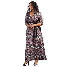 Kiyonna Women's Plus Size Moroccan Maxi Wrap Dress
