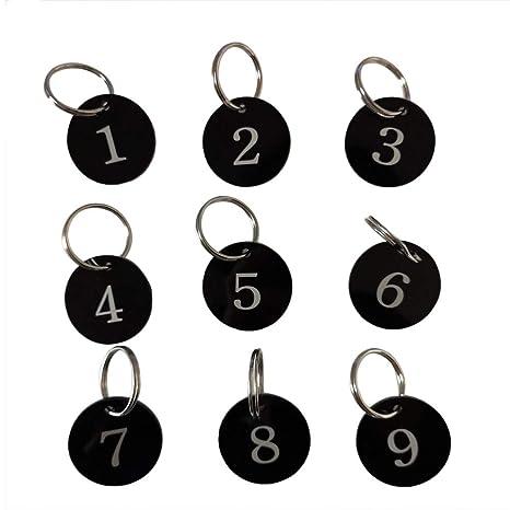 Sourcemall Targhette numerate in lega di alluminio con portachiavi 1-25 Nero