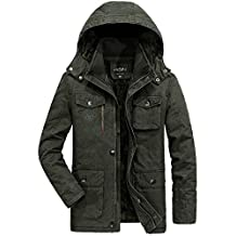 Men Winter Warm Fur Collar Hooded Thick Jacket Padded Coat Parka Faux Fur Lined