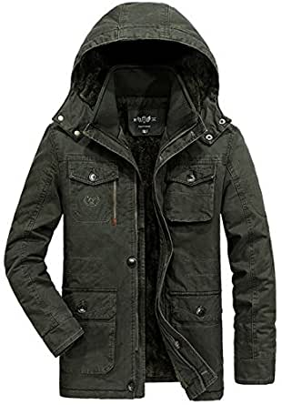 JIAX Men Winter Warm Fur Collar Hooded Thick Jacket Padded