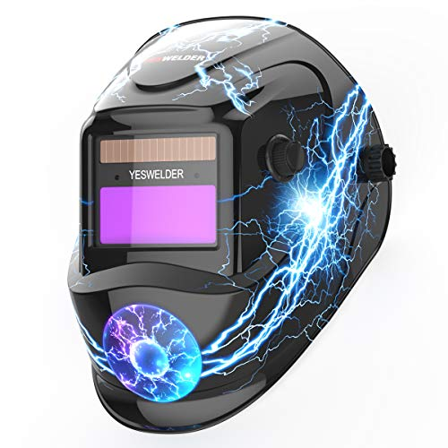YESWELDER True Color Solar Powered Auto Darkening Welding Helmet, Wide Shade 4/9-13 for TIG MIG ARC Weld Hood Welder Mask