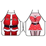 Ls Lady Creative Anime Cartoon Christmas Man and Woman Character Series Modern Family 2pcs Apron Couple Kitchen Aprons Barbecue/bbq Apron¡­