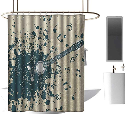 Qenuan Polyester Shower Curtain Modern,Acoustic Guitar on Retro Murky Background with Music Notes Melody Illustration,Beige Dark Blue,Curtain for Bathroom & Toilet 54