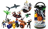 : Bucket of Pirate Action Figures Playset with Boat, Treasure Chest, Cannons, Shark, Pirate Ship, and More!