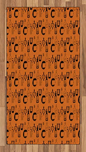 Ambesonne Apothecary Area Rug, Halloween Themed Potions Sketch Style Mystical Bottles Fantasy Theme, Flat Woven Accent Rug for Living Room Bedroom Dining Room, 2.6 x 5 FT, Burnt Orange -