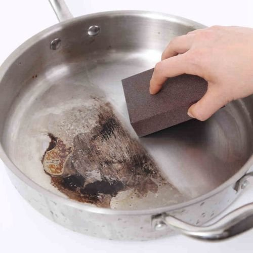 5PCS Pot Pan Dish Bowl Kitchen Magic Emery Sponge Cleaning Tool Brown