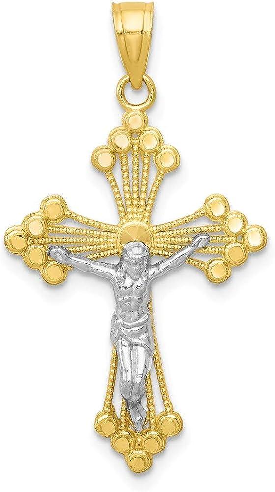 10k Yellow with White Rhodium Two-tone Gold Crucifix Pendant