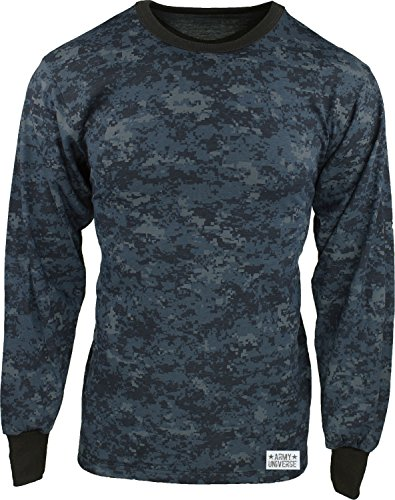e Navy Blue Digital Camouflage Long Sleeve Military T-Shirt with Pin - Size Medium (37