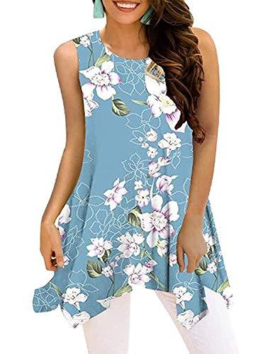 Luranee Womens Tank Tops, Sleeveless Crew Neck Irregular Hem Flowers Prints Summer Butt Length Blouses Elegant Cute Versatile Gorgeous Soft Surrounding Womens Clothing Large Light Blue