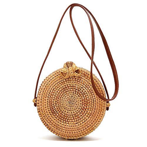 Handwoven Round Rattan Bags Weave Crossboby Straw bag Top Handle Summer Beach Shoulder bag (Grass Purse)
