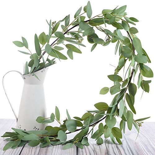 Woooow 5 Feet Seeded Eucalyptus Garland,Eucalyptus Leaves Runner Table Garland Artificial Eucalyptus Greenery Garland |Wedding Garland for Table | Holiday Centerpiece | Garland Greenery for - Table Runner Leaves