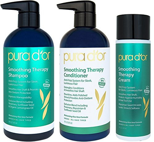 PURA D'OR Smoothing Therapy Shampoo, Conditioner, and Styling Cream 3-Piece Set - For Anti-Frizz, Dull, Dry, Brittle Hair, Sulfate Free with Natural Ingredients, Men & Women (Packaging may - Shampoo Smoothing Therapy