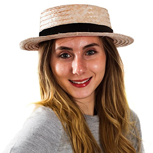 Amish Costume Halloween (Skimmer Hat – Amish Hat , Boater , Straw Hat , Sailor , Roaring 20's - Costume Accessories by)