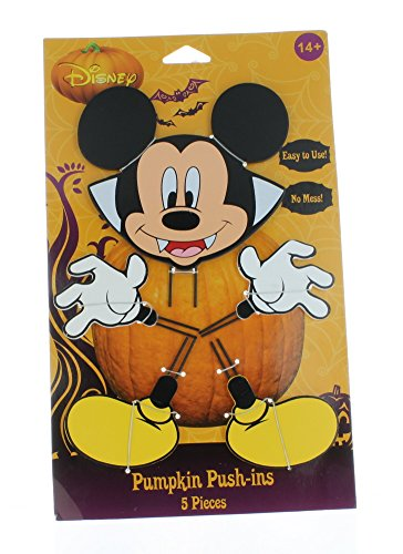 PTI Pumpkin Push-Ins Disney Mickey Mouse Dracula Halloween Wooden Pumpkin Decoration