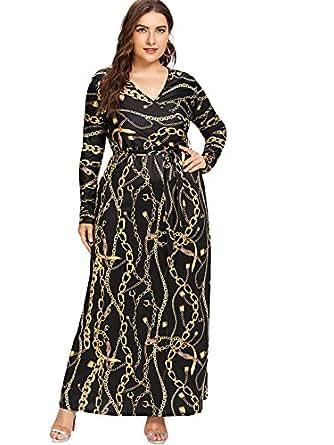 Milumia Plus Size Long Sleeves Wrap V Neck Empire Waist Lightweight Maxi Dress 0X