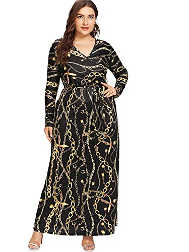 Wrap V Floral Dress Party Maxi Plus Empire Printed Brown Dress Waisted Neck Black Summer Milumia Size wYHqXw1
