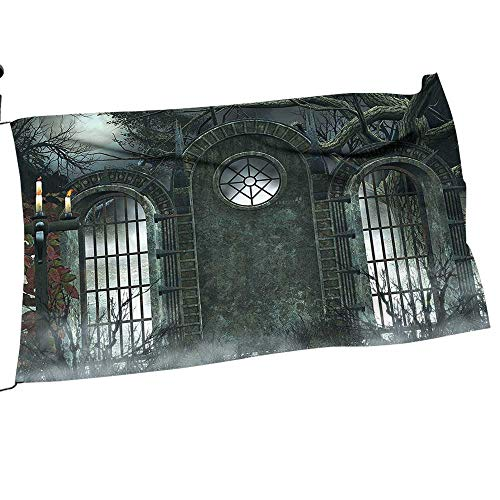 painting-home Garden Flag Arbor Mo Halloween Ancient Historical Gate Background C l Ficti View Gray for All Seasons28 x 42