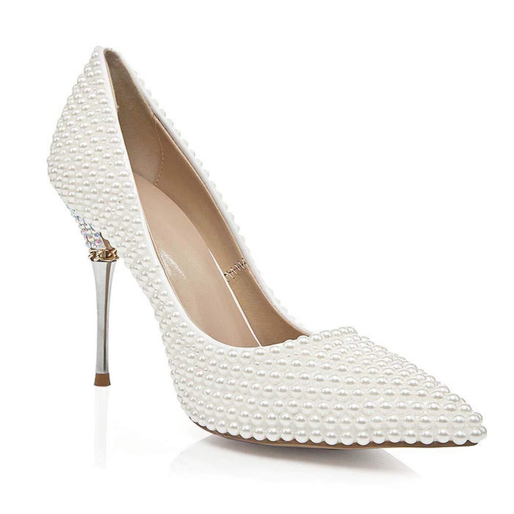 Women's Pearl Encrusted Crystal High-Heel Pumps - DeluxeAdultCostumes.com