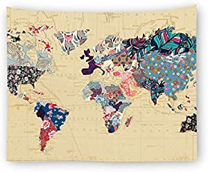 150 * 130cm Rectangle World Map Printed Tapestry Wall Art Hanging Polyester Mandala Beach Towl Table Cover Yoga Tapestries Home Living Room Dorm Decor