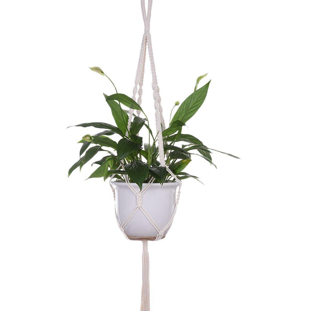 feiledi Trade Makramee Übertopf Hängekorb Pflanze Kleiderbügel Home Decor zum Aufhängen Blumentöpfe Balkon Garten Decor Handgefertigt natürlichen Seil Haken