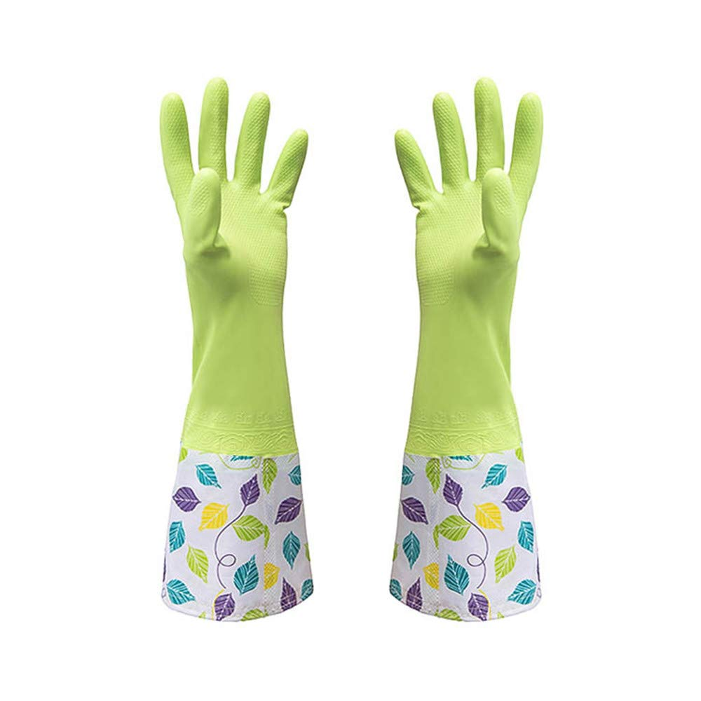 HOYURI Kitchen Rubber Cleaning Gloves with Warm Lining Household Waterproof Dishwashing Latex Glove