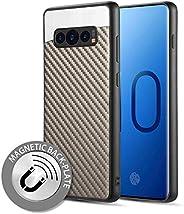 Luxmo Funda Case para Samsung S10 Protector Fibra de Carbono, Color Gris