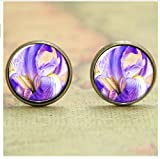 Iris earring ,Violet blue orange white flower earring, glass Photo art Jewelry earring