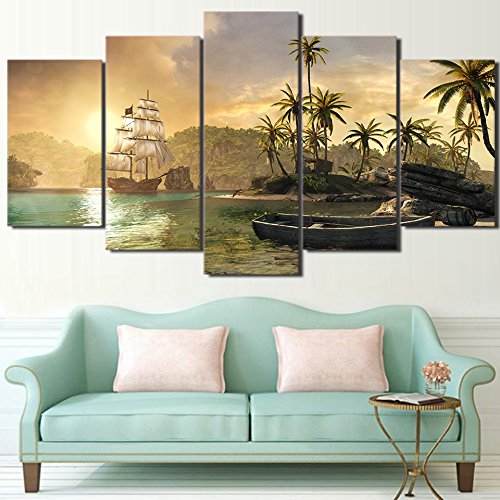 [Medium] Premium Quality Canvas Printed Wall Art Poster 5 Pieces / 5 Pannel Wall Decor Sailboat And Palm Tree Painting, Home Decor Pictures - With Wooden (Palm Picture)