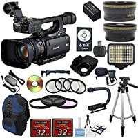 Canon XF105 Professional Camcorder w/ 10x HD Video w/ .43x Wide Angle Lens +2.2x Telephoto Lens +Video LED Light +22pc Accessory Kit - International Version