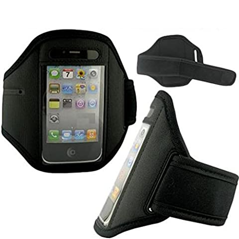 Armband Sports Gym Workout Cover Case Running Arm Strap Band Pouch Neoprene Black for Tracfone LG 530G - Tracfone LG Optimus Fuel - Tracfone LG Saber / (Lg Optimus Fuel Griffin Case)