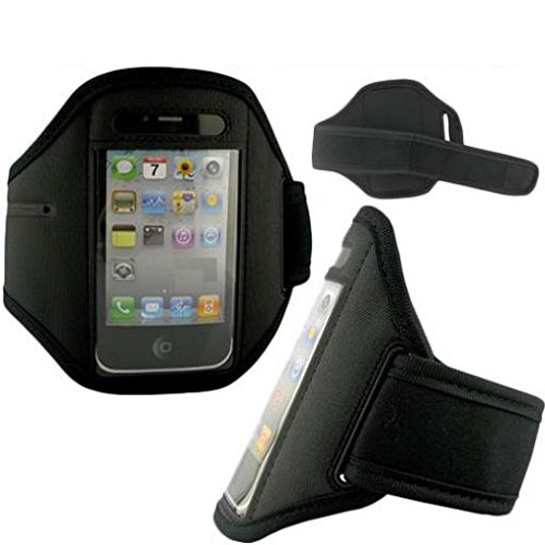 Armband Sports Gym Workout Cover Case Running Arm Strap Band Pouch Neoprene Black for Virgin Mobile iPhone 4S - Virgin Mobile Kyocera Brio - Virgin Mobile Kyocera Rise