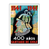 1541 to 1941 - 400 Años Santiago de Chile (400 Year Anniversary of Santiago, Chile) - Conquistador - Vintage World Travel Poster by O.O. Valle c.1941 - Premium 290gsm Giclée Art Print - 12in x 16in
